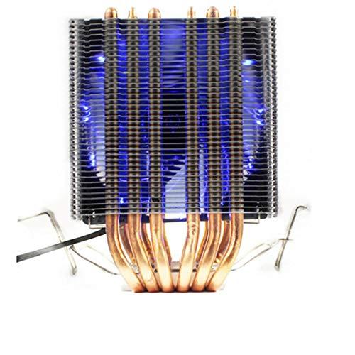 YOURPAI Ventilador de refrigeración, 6 disipadores de calor de doble torre Heatpipe Soporte 1/2/3 Ventiladores 4PIN CPU Cooler Azul