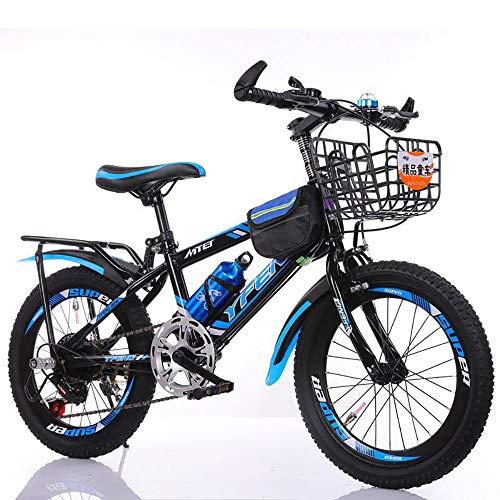 MKIU Mountain Bike per Bambini, Assorbimento degli Urti da 18-24 Pollici e Bici a velocità variabile, con Freno a Disco, Adatta per i Viaggi scolastici all'aperto,Blu,24 Inches