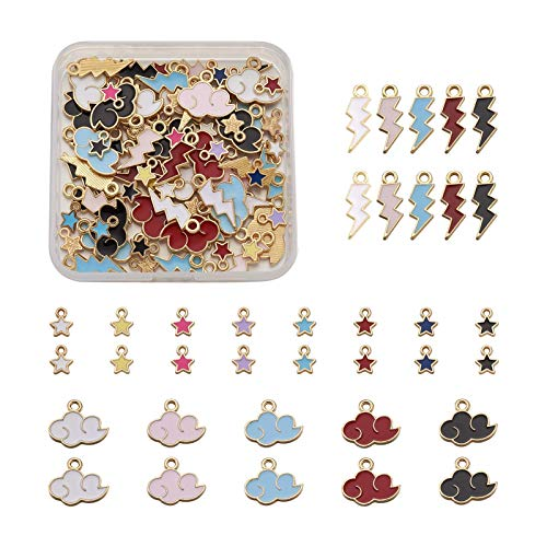 PandaHall 100pcs Enamel Star Cloud Lightning Charms Pendants Golden Plated Metal Charms Bulk for DIY Necklace Bracelet Earring Crafts