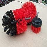 Taladro eléctrico cepillo eléctrico cepillo de limpieza de tres piezas de herramienta del hogar Set-SkyBlue, celeste (Color : Red)
