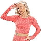 STARBILD Maglia Sportiva da Donna a Manica Lunga Maglie Maglieria Senza Cuciture Camicie T-Shirt Corta sotto Maglie Magliette Abbigliamento Canotta Corsa, B-Rosso S