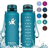 KollyKolla Botella Agua Sin BPA Deportes - 1.5L, Reutilizables Ecológica Tritan, Bebidas Botellas con Filtro & Marcador de Tiempo, para Al Aire Libre, Tapa Abatible de 1 Clic, Verde Bosque Mate
