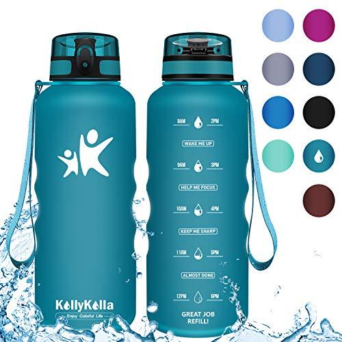 KollyKolla Trinkflasche 1.5 Liter - BPA-frei Auslaufsicher Sport Wasserflasche, Tritan Sportflasche Kohlensäure Geeignet Kunststoff mit Filter für Kinder, Schule, Baby, Fahrrad, Gym, Smaragdgrün