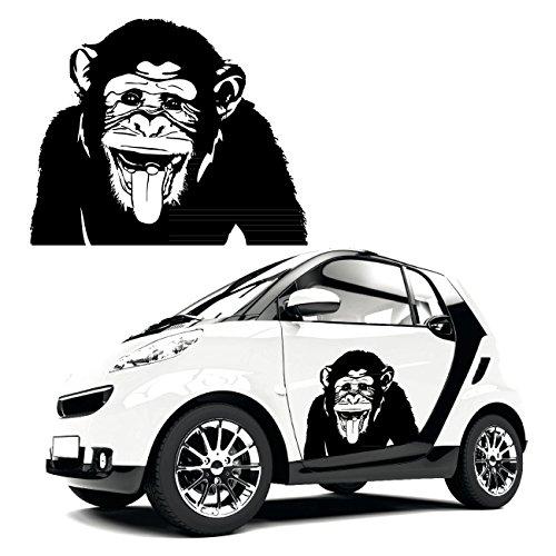 Affe Autotattoo Schimpanse mit rausgestreckter Zunge freche Tier Motive Aufkleber Sticker |KB614