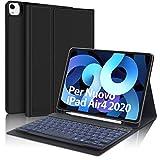 SENGBIRCH Tastiera per iPad Air 4 2020 10.9, Custodia con Tastiera Italiano per iPad Air 4 2020 10.9/iPad PRO 11 2020 con Staccabile 7 Colori Retroilluminato Tastiera, Cover con Auto Svegliati/Sonn