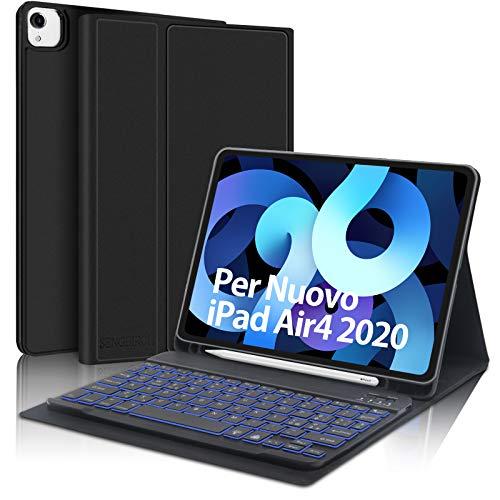 SENGBIRCH Tastiera per iPad Air 4 2020 10.9, Custodia con Tastiera Italiano per iPad Air 4 2020 10.9 iPad PRO 11 2020 con Staccabile 7 Colori Retroilluminato Tastiera, Cover con Auto Svegliati Sonn