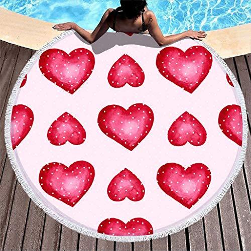 Wraill Toalla de playa redonda con lunares rojos, corazones y corazones, toalla de playa, para mujer, hombre, camping, viaje, de secado rápido, extragrande, con borla blanca, 150 cm