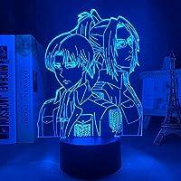 Tatapai アニメランプ進撃の巨人リヴァイ・アッカーマンアクリル3DランプハンジゾエホームルームインテリアライトチャイルドギフトハンジゾエLEDナイトライトアニメ