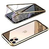 Jonwelsy Funda para iPhone 11 Pro (5,8 Pulgada), Fuerte Tecnología de Adsorción Magnética Metal Bumper, Cubierta Trasera de Transparente Vidrio Templado Ultra Delgado Case Cover (Oro)