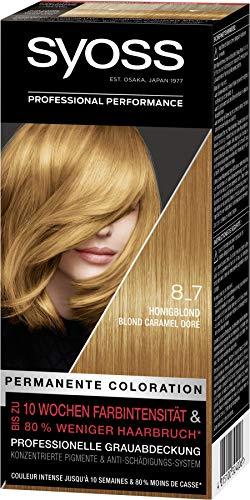 SYOSS Coloration, Haarfarbe Stufe 3 8_7 Honigblond, bis zu 10 Wochen Farbintensität, 3er Pack (3 x 115 ml)