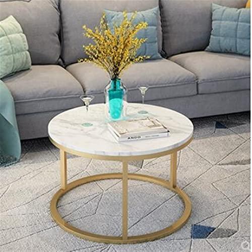 NICEDINING Nordic marmer ijzer kunst eenvoudige thee tafel hoge en lage creatieve cirkel combinatie ins kleine familie woonkamer bijzettafel (Kleur: 60cm in diameter)