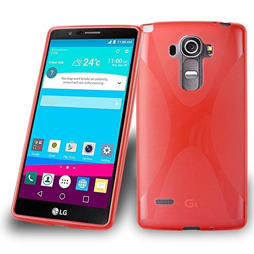 Cadorabo Hülle für LG G4 Stylus Hülle in Inferno Rot Handyhülle aus flexiblem TPU Silikon im X-Line Design Silikonhülle Schutzhülle Soft Back Cover Hülle Bumper Inferno-Rot