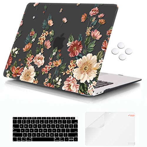 iCasso MacBook Air 13 inch Case 2018-2020 Release A2337 M1/ A1932/A2179, Hard Shell Case and Keyboard Cover Only Compatible Newest MacBook Air 13'' with Touch ID Retina Display - Black Floral