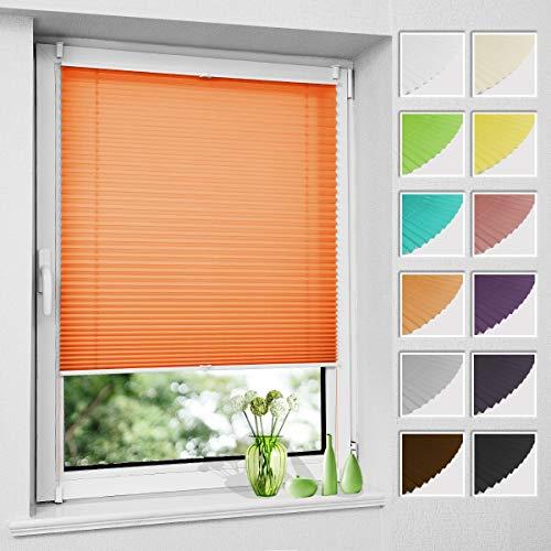 Plissee Klemmfix ohne Bohren, Orange 35 x 120 cm (BxH), Faltrollo Plisseerollo mit Klemmträger, Jalousie Rollos für Fenster und Tür, Sichtschutz und Sonnenschutz