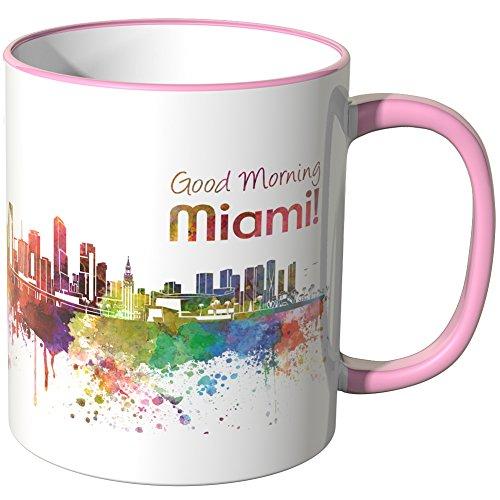 WANDKINGS® Tasse, Schriftzug Good Morning Miami! mit Skyline - ROSA