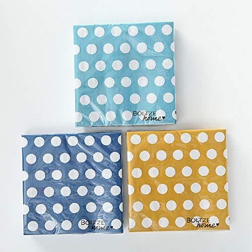 CasaJame Servietten gepunktet, Papierservietten Set mit Punkten, 3-lagige blau hellblau gelb, 60 Stück, 33x33cm