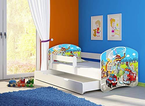 Clamaro 'Fantasia Weiß' 140 x 70 Kinderbett Set inkl. Matratze, Lattenrost und mit Bettkasten Schublade, mit verstellbarem Rausfallschutz und Kantenschutzleisten, Design: 37 Feuerwehr