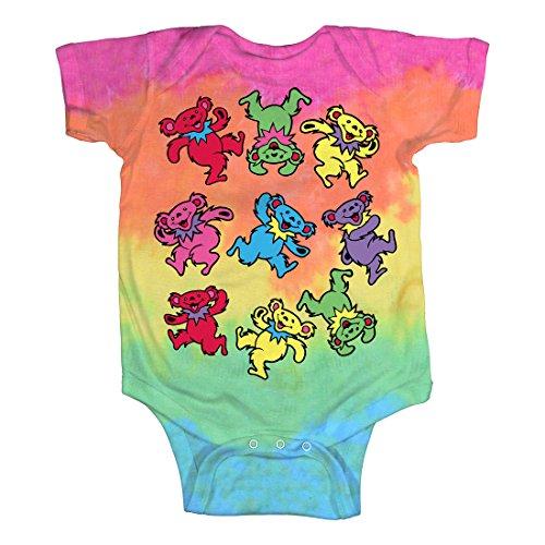 Liquid Blue unisex baby Grateful Dead Spiral Dancing Bears Onesie T Shirt, Tie/Dye, 0-6 Months US