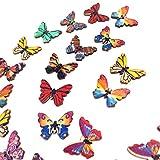 Harilla Botón de Mariposa Retro Pintado de Registro de Mezcla de Bricolaje de 100 Piezas para Decoración de Pantalones de Abrigo