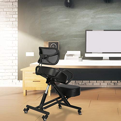 LONABR Ergonomic Kneeling Chair with Back Support Adjustable Stool for Office and Home Angled Seat Improve Your Posture Thick Comfortable Cushions Wheel Black Chair Support 220LBS