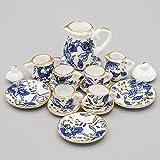 Odoria 1/12 Miniature Service à thé Asiatique, Bleu et Blanc, 15 pièces Cuisine de Maison de Poupées
