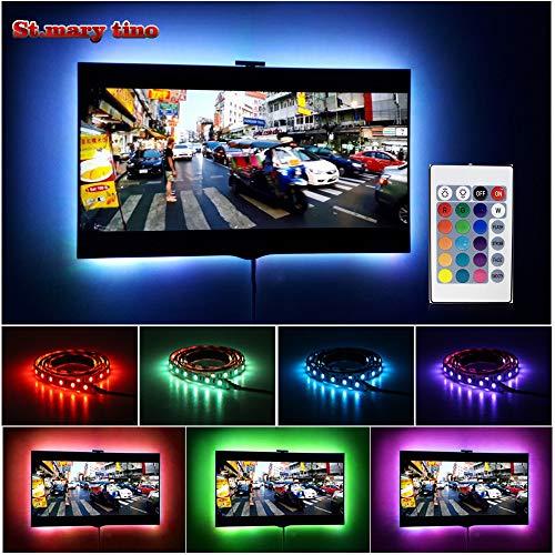 St.Mary Tion - Striscia di luci LED con telecomando per TV da 50 a 60 pollici, 16 colori, 4 modalità di scena, alimentazione USB, 200 cm