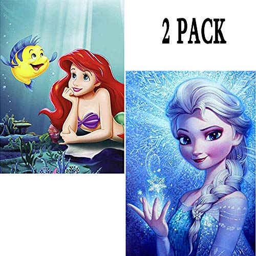 2 Pack 5D Diamond Painting Frozen Elsa & Ariel Princess Full Drill by Number Kits for Adults Kids, Rhinestone Crystal Drawing Gift Embroidery Dotz Kit Home Wall Décor Paint(12''x 16'')