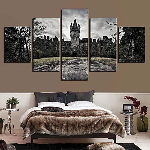 Yftnipl Impresión 5 Piezas Lienzo Naturaleza Del Antiguo Castillo Casa Sala Oficina Regalo Decoración Mural Hd Imágenes Póster 5 Piezas Artística Cuadros,150X80Cm
