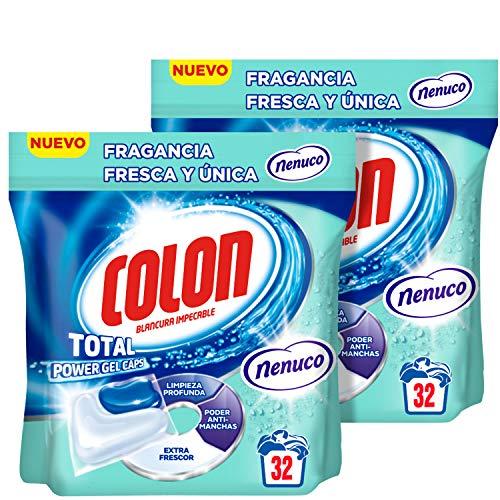 Colon Total Power Gel Caps Nenuco Detergente Para Lavadora, Aroma Nenuco, Formato Cápsulas - Pack de 2, 64 dosis