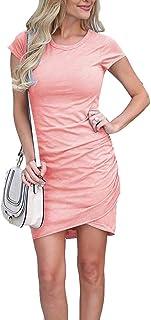 Womens Bodycon Dress Casual Tshirt Dresses Ruched Maternity Dress Mini Short Irregular Hem