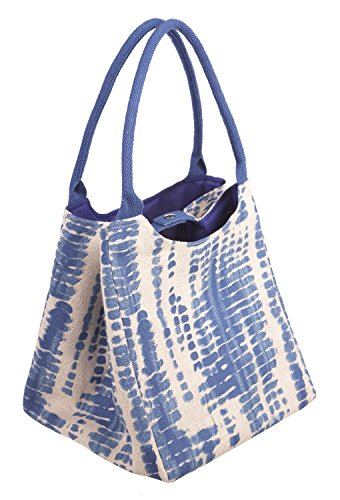 Style 101 Blue Blotch Egshell Colored Canvas Tote Bag - By Ganz