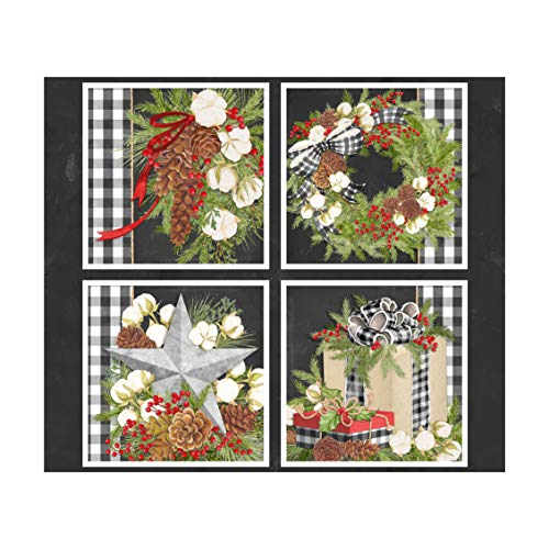 Christmas Gingham Pillow 36in Panel Black Quilt Fabric