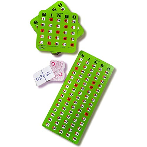 Regal Games Finger-Tip Shutter Slide Card Bingo Set with Master Board and Calling Cards, 25 or 50 Count (Green, 25-Cards)