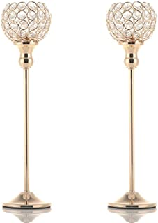 VINCIGANT Set of 2 Crystal Candlesticks for Mother's Day Anniversary Wedding Coffee Table Decorative Centerpiece,Gold