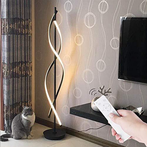 Stehleuchte LED mit Fernbedienung Schwarz - ELINKUME Spiral Modellierung Dimmbar Modernes Kreativ Design Indoor Stehleuchte Raumbeleuchtung Bequeme Energieeinsparung AC 220V