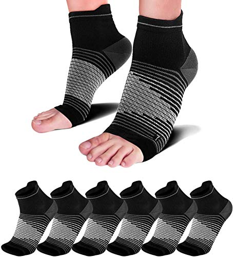 Compression Socks Sleeves (6 Pairs) for Heel Pain Relief, Best Compression Foot Sleeves with Arch Support for Plantar Fasciitis, Heel Pain, Foot & Ankle Support Achilles Tendon Support, Black XXL