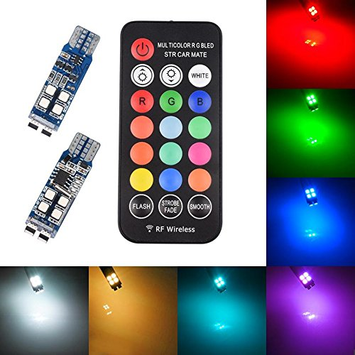 T10 168 194 W5W LED Bulb RGB Amber Yellow White Blue Red RF Remote 3535 SMD Dome License Plate Map Trunk Reading Side Marker Wedge Lights for Car Replacement Bulbs 12V 6W Pack of 2【1797】