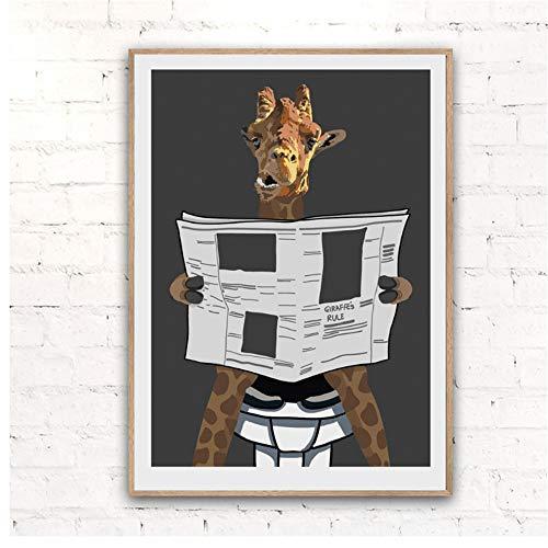 NIESHUIJING Druck auf Leinwand Wandkunst HD Giraffe Toilette Zeitung Bild Leinwand Nordic Home Decor Modulare Malerei für Wohnzimmer 40 x 60 cm (15,7