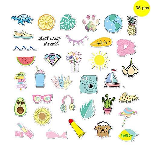 Hamkaw Ästhetische Aufkleber Vinyl Graffiti Wasserdicht Sticker Sommer Strand Ephemera Pack für Hydroflaschen Wasserflaschen Cup Laptop und Gepäck Skateboard 35 Stück