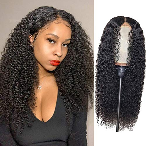BLY Kinky Curly Lace Front Wigs for Black Women Human Hair Pre Plucked Knots Bleached 4x4 Lace Closure Wig Deep Curly Hair 150% Density 1B Black Color 26 Inch