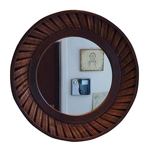 LULUTING Espejo de Maquillaje 61 cm (24') Retro Espejo Decorativo de la Sala/Dormitorio/baño Marco Redondo de bambú Espejo de baño Weaving Proceso Fregadero Porche Espejos Colgantes - Brown