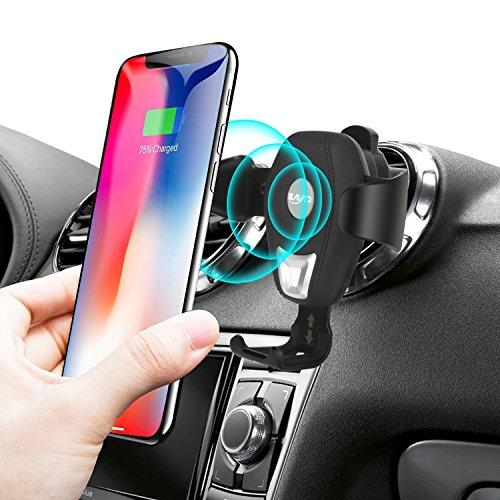 Yogee Caricatore Wireless Auto, Ricarica Rapida Regolabile Wireless Auto Culla Supporto per Samsung Galaxy Note 8/ S8/ S8+/ S7/ S6 Edge+/ Note 5,Qi Charging Standard per iPhone X/8/8 Plus
