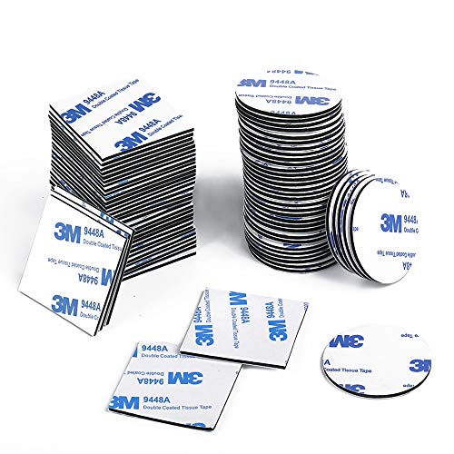EKKONG Klebepads Doppelseitig, Doppelseitige Schaumstoff-Pads 100 Stück Doppelseitiges Klebepads Schwarz Selbstklebend Starkes Klebeband Quadratisch und Rund