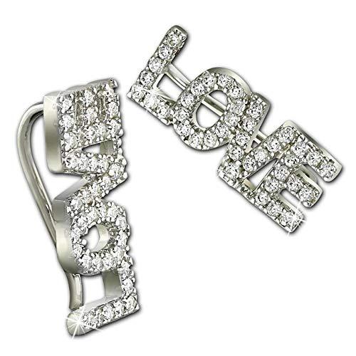 SilberDream GSO501W - Pendientes de plata para mujer, diseño de corazón