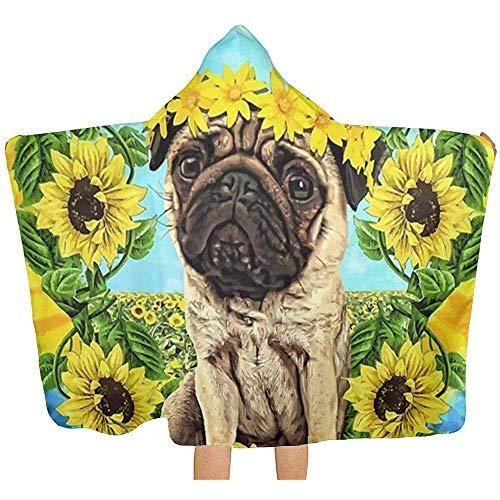Wen-shop Sonnenblumen Mops Daydream lustige Möpse Handtuch mit Kapuze Poncho Bad Badetücher Bademäntel Kinder Jungen Mädchen Super weich
