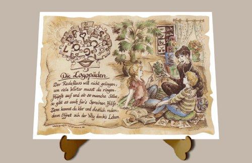 Die Staffelei Geschenk Logopäden Logopäde Logopädie Zeichnung Color 30 x 21 cm mit Aufsteller
