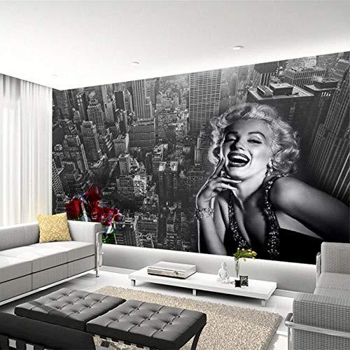 Nomte Moderne Einfache Schwarz Weiß Gebäude Marilyn Monroe Fototapete Wohnzimmer Restaurant Einkaufszentrum Dekor Wandbild 3D Fresko 200x140cm