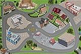 Stadt / Straßen Spielteppich   SM05   Hochwertige City Spiel-Matte für das Kinder-Zimmer   ideales Zubehör zu Spiel-Figuren & Autos von Schleich, Playmobil, Papo, Bullyland & Co   150 x 100 cm   STIKKIPIX