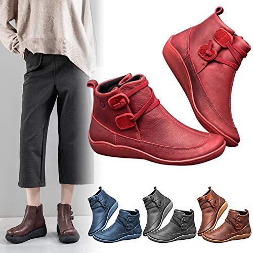 Acreny Botas de Nieve de Invierno para Mujer Botines de Cuero de Primavera Zapatos Planos Botas Cortas de Mujer Botas de Nieve Mujer Impermeable