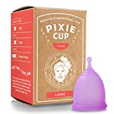 Pixie Menstrual Cup - Ranked 1 for Most Comfortable Reusable Period Cup and Best Removal Stem - Tampon and Pad Alternative - Every Cup Purchased One is Given to a Woman in Need! (Firm Large)